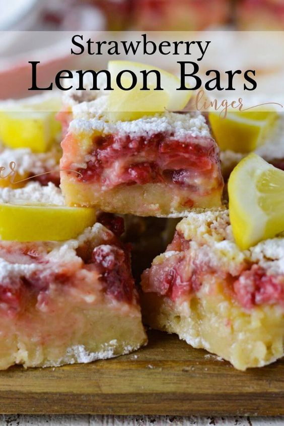 Classic Lemon Bars with Strawberry Topping