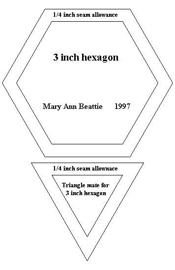 Pattern for quilting 3 hexagon and triangle mate Quilting Pinterest Hexagons, Block of the ...