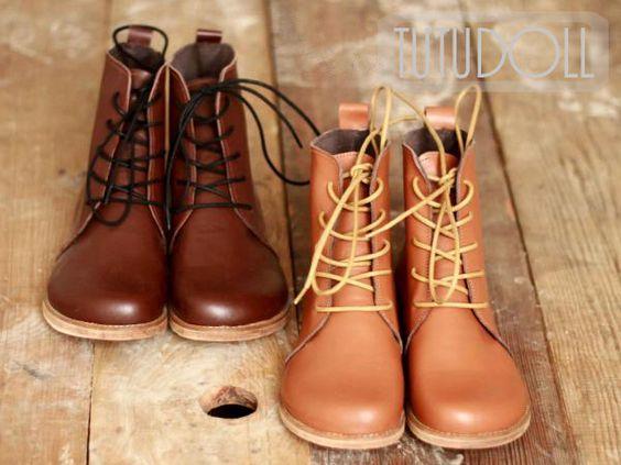 Brown Vintage handgemaakte lederen laarzen van HandMade Vintage Shoes op DaWanda.com