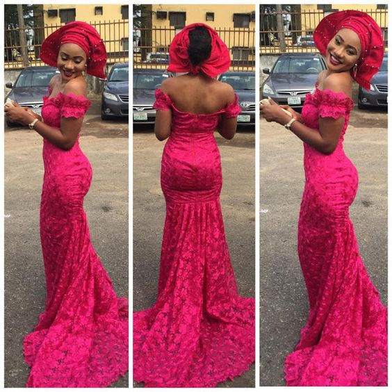 Creative Aso-Ebi Gown Design -http://www.dezangozone.com/2015/12/check-out-this-lovely-lace-gown-style.html DeZango Fashion Zone: