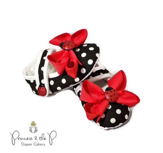 Glitter Ladybug Crib Shoes, Easter basket stuffer, easter basket, Spring, ladybug 1st birthday,  ladybug baby shower, baby photo prop