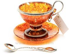 Amber and Silver Cup& Saucer