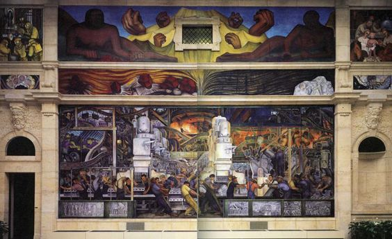 The Diego Rivera Mural at Detroit Institute of the Arts is reason enough to hop a plain to Detroit right now. This series of twenty-seven fresco panels entitled Detroit Industry on the walls of an inner court at the Detroit Institute of Arts., was commissioned by Edsel Ford but conceived by the  artist as a tribute to the city's industries and labor force. Rivera used the Ford motor plant in Dearborn Michigan as the model for the industry murals.
