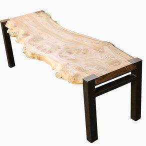 Burled Siberian Elm Slab Bench With Steel Base by Ryan Dirksen