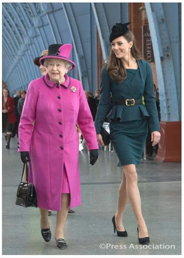 March 8, 2012 - Launch of Queen's Diamond Jubilee tour at Leicester Cathedral: LK Bennett's Davina dress & Jude Jacket, both in dark teal.  John Lock's Fairy Tale style hat.