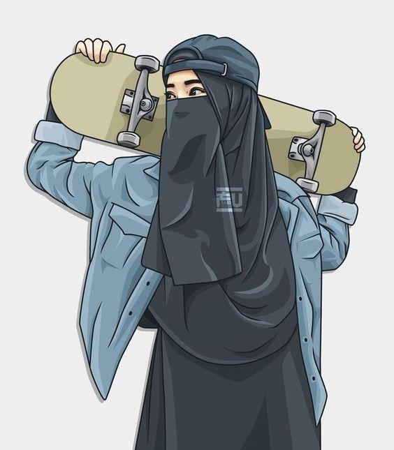 Kumpulan Gambar Kartun Muslimah Couple Bercadar Cara Baruq