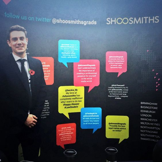Here's Tom, a trainee solicitor in Shoosmiths' Nottingham office. The Shoosmiths graduate recruitment team & trainees attend lots of law fairs, employer presentations and open evenings throughout the year. Have a look on our website for a location near you. http://www.shoosmiths.co.uk/careers/graduate/meet-us-7720.aspx