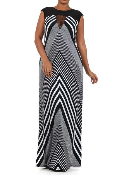 Striped maxi dresses, Plus size chevron and Chevron on ...