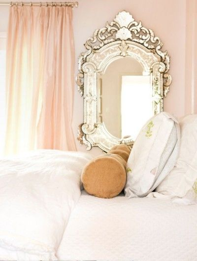 I am in love with this mirror; especially, against the pale pink walls!