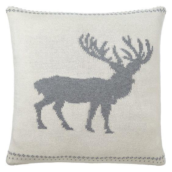 Buy John Lewis Knitted Reindeer Cushion, Ivory/Grey Online at johnlewis.com ...