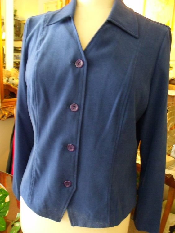 **SOLD!** REQUIREMENTS DARK DUSTY BLUE CAREER JACKET SIZE MED POLY/SPANDEX BUTTON FRONT