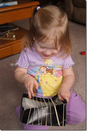 Rubber bands Make Music - could use a shoe box or a plastic container