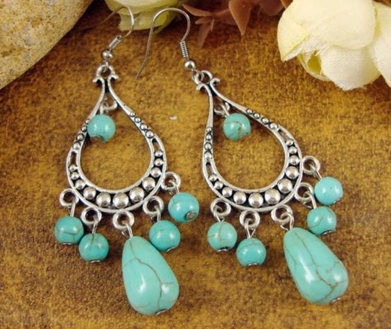 Boho style - silver and turquoise earrings