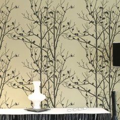 I want to do this when I re-do my dining room 'Shabby-Chic' !!  ++  birds-trees-wall-stencil-pattern-design.jpg  ++ From 'Cutting Edge Stencils.com