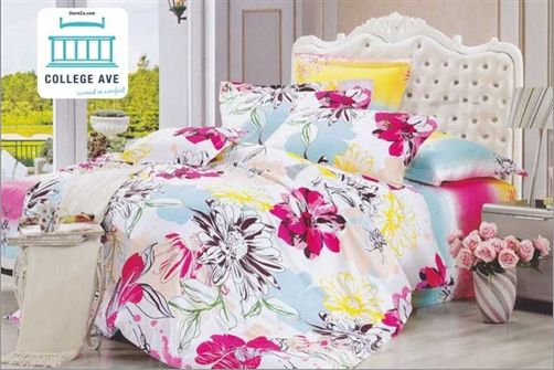 Our blossom twin xl comforter set is a vibrant floral - Pink and yellow comforter ...