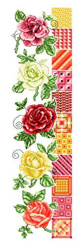 Roses and Quilts - cross stitch pattern designed by Ursula Michael. Category: Quilts.