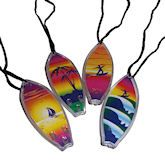 3.25 inch surfboard necklaces. Assorted designs and colors. 30 inch nylon cord.