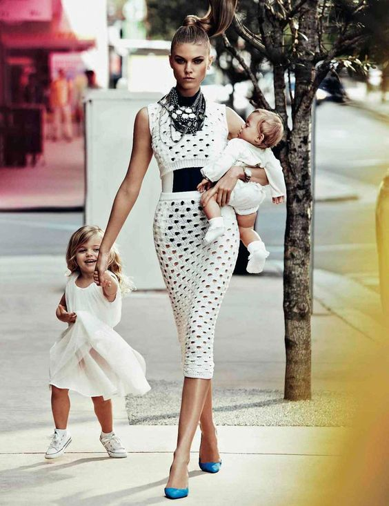 Marina Linchuk photographed as a contemporary mom for the Vogue Russia, by Alexi Lubomirski