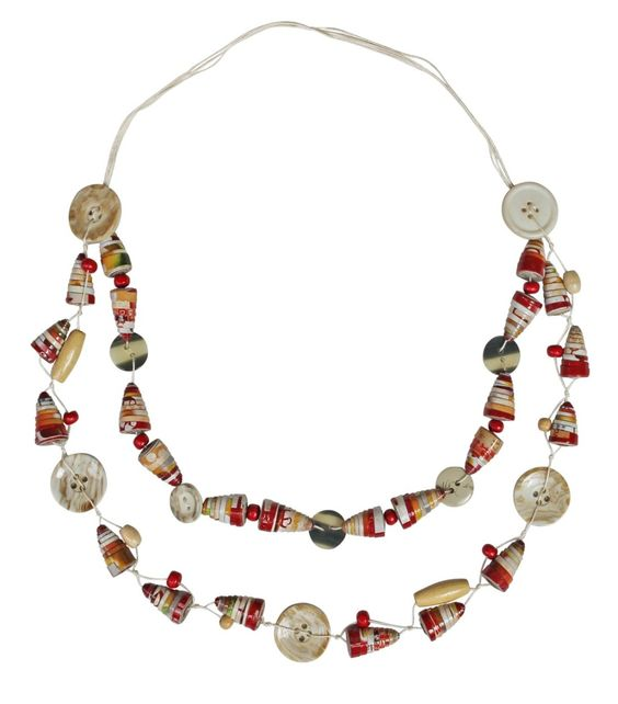 Eco Friendly Gifts, Fairtrade Gifts - Paper Bead And Button Necklace