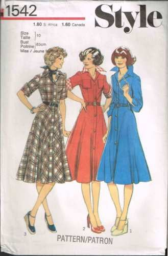 1542 Sewing Pattern Vintage Style Ladies Button Front Dress 10