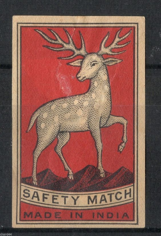 Old Matchbox Label Box Size India Deer   eBay
