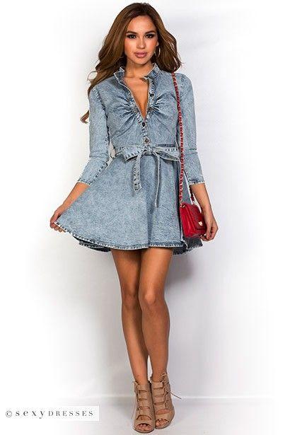 Danni&quot Blue Denim Acid Wash Fit and Flare Jean Shirt Dress with ...