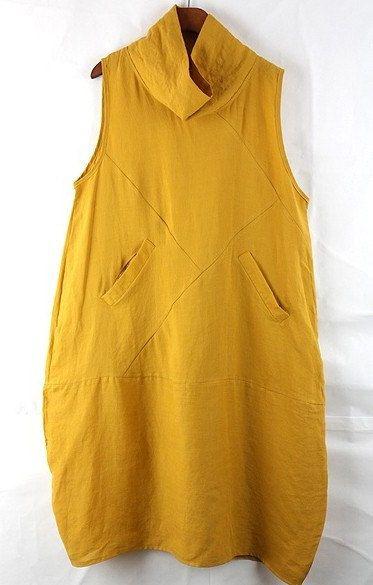Yellow Loose fitting Maxi dress Linen dress by prettyforest22