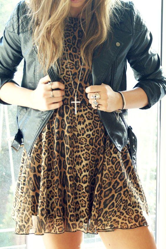 Leopard print chiffon dress + leather jacket = gorgeous