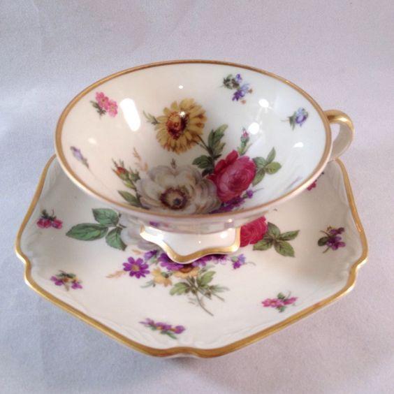 Mitterteich Bavaria Meissen Floral Cup Saucer - Flowers on Inside ...