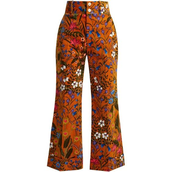 Gucci Floral-print wide-leg corduroy cropped trousers ($1,500) ❤ liked on Polyvore featuring pants, capris, floral pants, cordoroy pants, floral print pants, corduroy pants and gucci