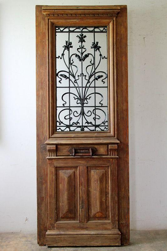 アイアン飾り 玄関ドア 郵便ポスト付き フランス アンティークドア