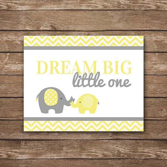 INSTANT DOWNLOAD - Dream Big Little One - Printable Wall Art - Yellow & Gray…