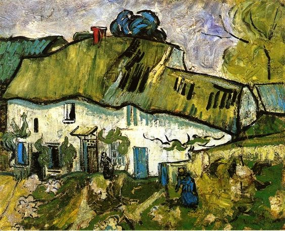 Farmhouse with Two Figures / Vincent van Gogh - 1890