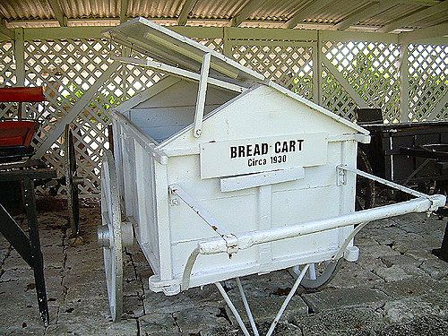 There were push carts with bread that would come around twice a week, also donkey/mule carts.
