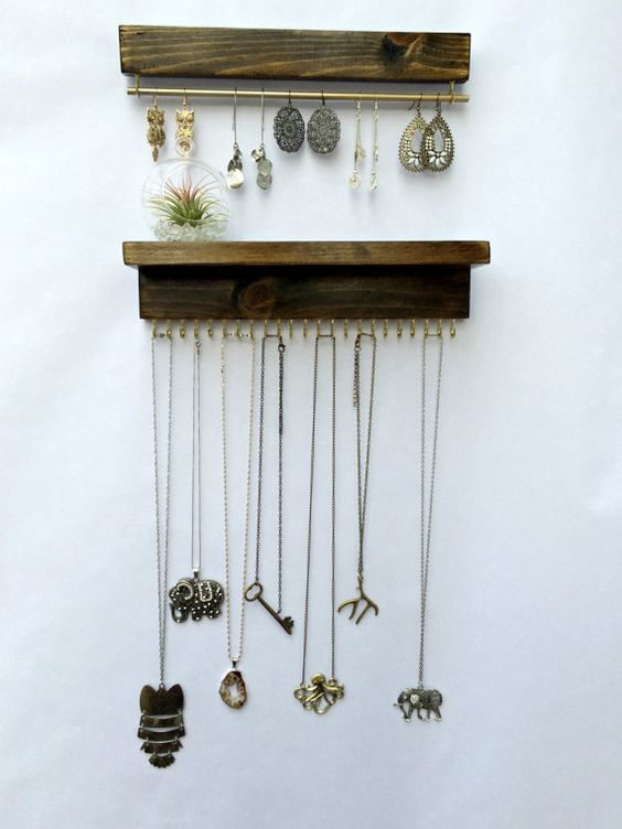 wall mount jewelry organizer necklace holder and earring