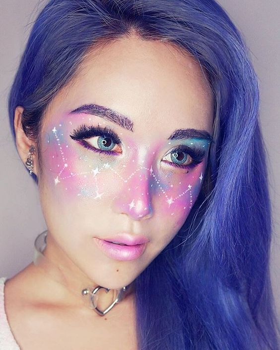 So the Internet is going crazy over the newest makeup trend that is Galaxy Freckles!!! Inspired by this gorgeous art piece of a girl with the galaxy and constellations on her face by @Qinniart