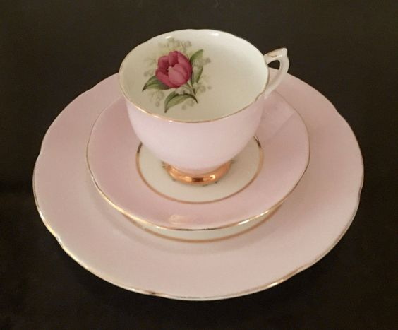 Sweet trio by Royal Ardalt /made in England/bone china/gilded trim/pale pink…