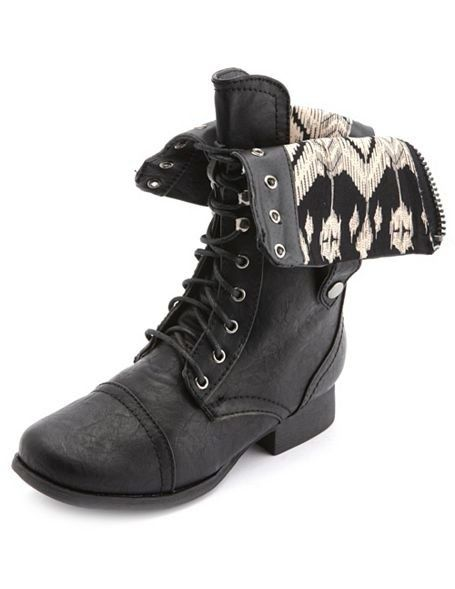 FOLD-OVER LACE-UP COMBAT BOOT - BOOT on InStores