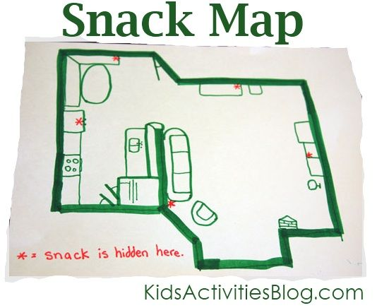 Make snack time fun by having your kids look for their snack through a map
