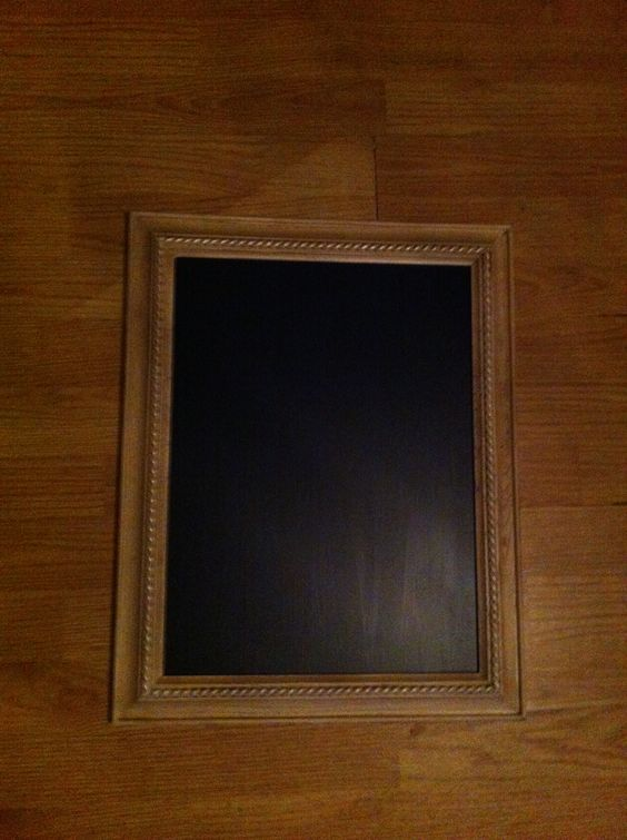 Old picture frame spiffed up, used chalkboard paint on the glass, need 2 layers, chips easily.