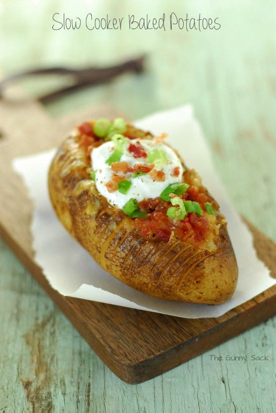 Slow Cooker Baked Potatoes Recipe   The Gunny Sack