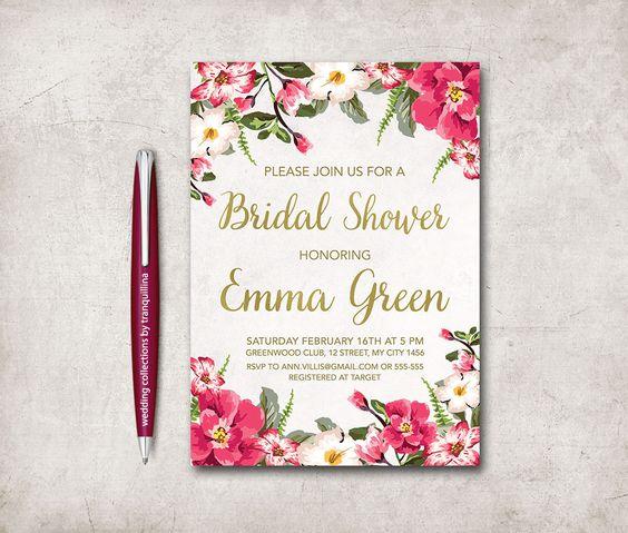 Floral Bridal Shower Invitation Printable, Rustic Bridal Shower, Birthday Invite, Digital File - Floral Invitation - pinned by pin4etsy.com