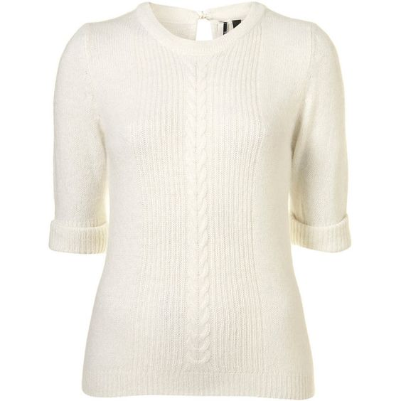 Knitted Fluffy Cable Jumper ($48) ❤ liked on Polyvore featuring tops, sweaters, shirts, jumpers, women, jumper shirt, white sweater, white cable knit sweater, white tie shirt and tie shirt