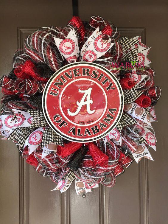 Alabama Deco Mesh Wreath, Alabama Football, Alabama Christmas Gift, BAMA Wreath, University of Alabama, Alabama Ribbon, Graduation Gift