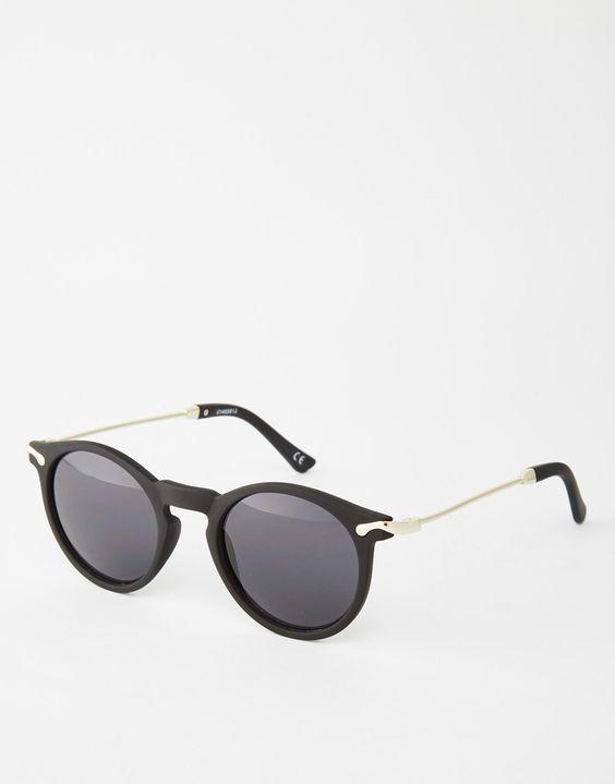 Imagen 1 de Gafas de sol redondas negras con patillas de metal de ASOS