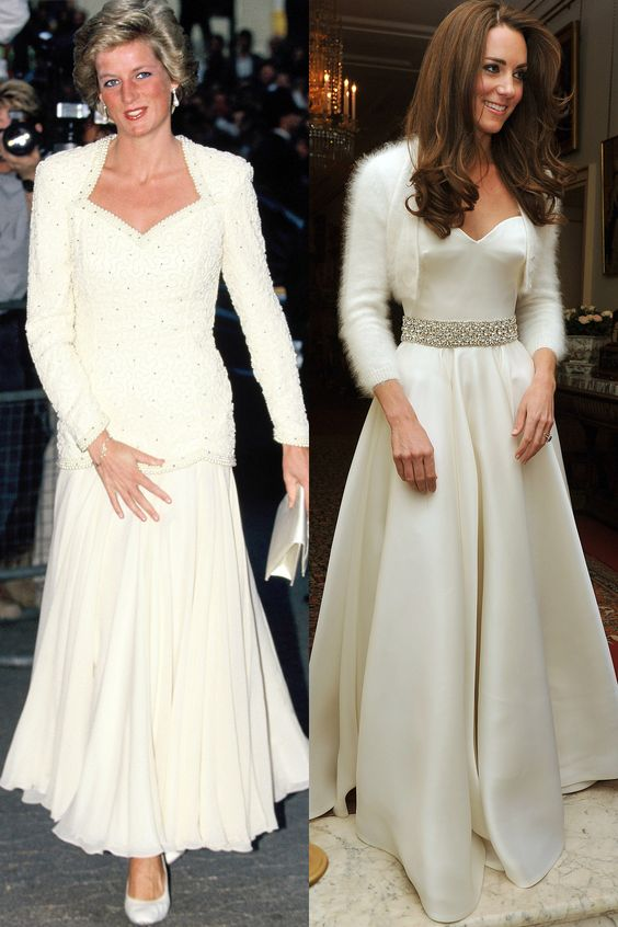 Diana in 1988; Kate leaving for Clarence House for the reception following her wedding in April 2011.   - HarpersBAZAAR.com