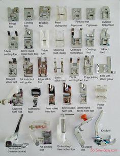 names of sewing machine feet