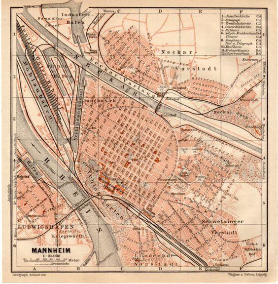 1909 Mannheim Germany Ludwigshafen Rhein Neckar Rhine River – Manheim Germany Map