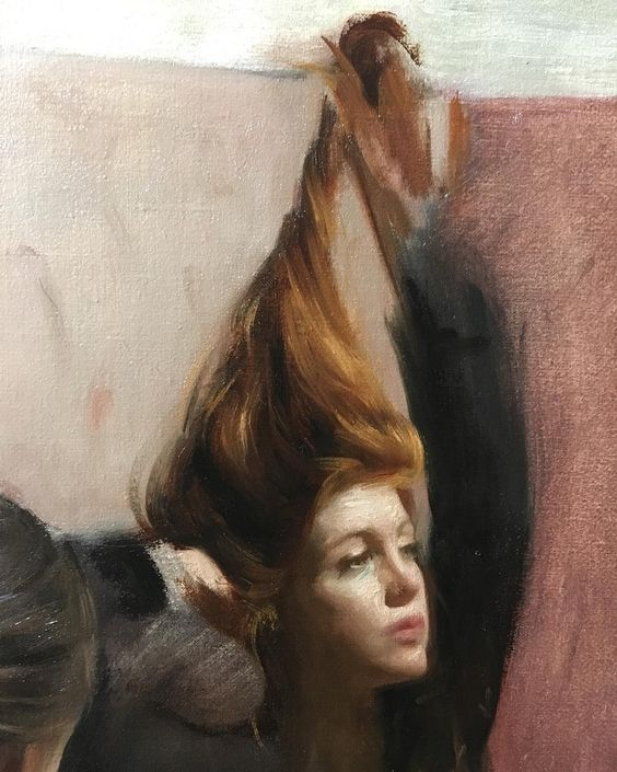 Nick Alm; This cute girl just can't stop starring at herself. Detail of a painting in progress, oil