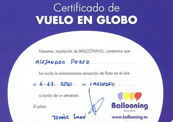 Vuelo Globo Aerostato con Familia con Certificado Reconocimiento Alejandro Perez Irus AlejandroPI Deportes Aereos Volando en Globo